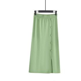 ブラックグレーハイウエスト女性スカートボタン飾る秋冬ニットスカートロングペンシルスカート、グリーン、ワンサイズ