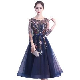 パーティードレス 結婚式 ワンピース チュール 花柄 刺繍 袖あり 大きいサイズ 3色 ・XS〜2XL (M, ネイビー)