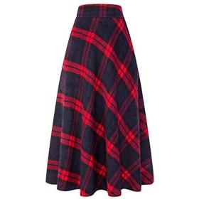 冬秋レディース高弾性ウエストAラインチェック柄スカートレディースカジュアルな緑赤暖かいフレアロングスカート、赤、Xl