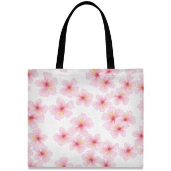 トートバッグ 学生 ハンドバッグ 手提げ キャンバス かわいい 桜 花柄 肩掛けバッグ 大容量 レディース 軽量 通勤 通学 おしゃれ