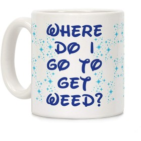 Shimaier Where Do I Go to Get Weed ホワイト 350ML セラミックコーヒーマグ