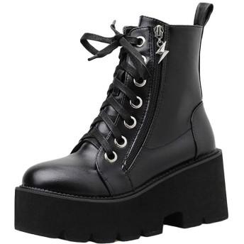[KanshaMingMa] 厚底ブーツ ショートブーツ レディース ブーティー 厚底靴 美脚 履きやすい靴 ショートブーティー ジッパー 美春秋冬 厚底 ハイヒール ブーツ ブーティ 美脚 歩きやすい 痛くない 8cmNZG28 (23, ブラック)