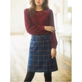 【大きいサイズレディース】【L-3L】ベルト付ラップ風台形スカート スカート 膝丈スカート