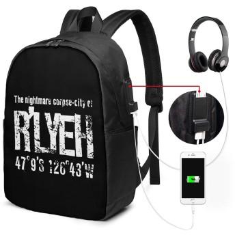 リュックサック クトゥルフ神話 ルルイエ カジュアル カレッジバッグ ブックバッグ USBポート搭載 軽量 イヤホン穴付き 17インチ収納 バックパック ショルダーバッグ PCリュック 男女兼用 ブラック