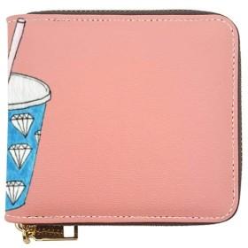 青い紙カップミルクティーイラスト財布 ショートフォールディングウォレット