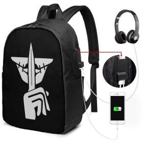リュックサック レインボーシックス カジュアル カレッジバッグ ブックバッグ USBポート搭載 軽量 イヤホン穴付き 17インチ収納 バックパック ショルダーバッグ PCリュック 男女兼用 ブラック