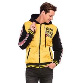 Cipo&Baxxメンズトランジションジャケットキルティングジャケットフード付きジャケットカジュアルボンバージャケット-イエロー-スモール