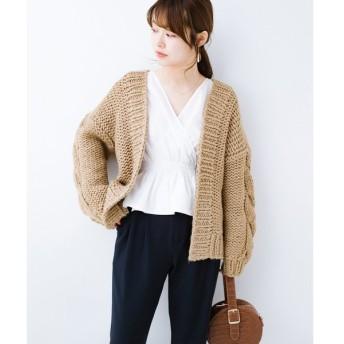 【ハコ】アウターがわりに着られる 手編みのざっくりニットカーディガン
