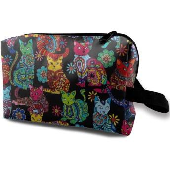 落書き猫 化粧ポーチ トイレタリーバッグ トラベルポーチ 洗面用具入れ フルメイクセットバッグ 大容量 化粧品収納 出張 海外 旅行グッズ 育児グッズ レディース インナーバッグ