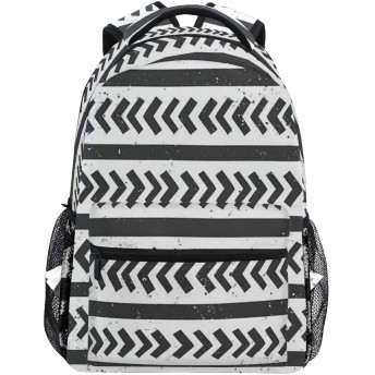 NINEHASA 新しいリュックサック人気リュックおしゃれ 大容量 軽量 通学 旅行ハイキングキャンプバッグ グランジ背景と手描きのストライプ矢印図形パターン
