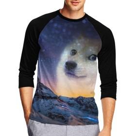 七分袖Tシャツ メンズ 中袖 吸水速乾 シンプル 無地 おしゃれ 星空 猫 山頂 創意デザイン 男性Tシャツ スタイリッシュ おもしろ カジュアル スポーツ