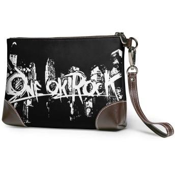 ワンオク ロック ONE OK ROCK クラッチバッグ レザー 小銭入れ 収納袋 コイン 小物整理 シンプル 携帯やカード ミニバッグ 着脱ベルト付き レディース