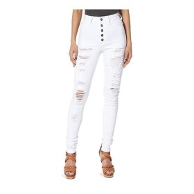 女性の ド蝶コーテ 水はジーンズのセクシーなスリム薄い鉛筆のズボンの足だったボロボロ いシェイプ (Color : White, Size : M)