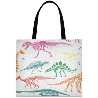 FengJu トートバッグ 大容量 レディース メンズ 軽量 カバン 通勤 通学 バッグ アウトドア 旅行 肩掛け 手揚げバッグ ハンドバッグ 恐竜