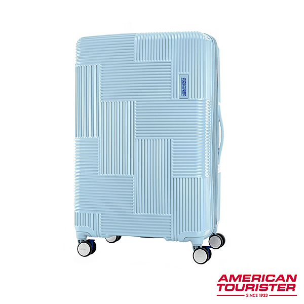 AT 美國旅行者 25吋Velton 跳色幾何防盜拉鍊可擴充剎車輪行李箱 粉藍 GL7*71010