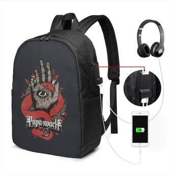 リュックサック パパ ローチ カジュアル カレッジバッグ ブックバッグ USBポート搭載 軽量 イヤホン穴付き 17インチ収納 バックパック ショルダーバッグ PCリュック 男女兼用 ブラック