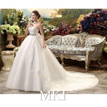 大きいサイズ 花嫁 ワンピース 結婚式 披露宴 ブライズメイドドレス キレイ ホワイトドレス エレガンス 体型カバー フォーマル ウェディングドレス 花嫁ドレス 662
