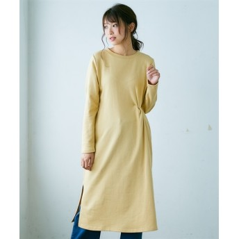 綿100%裏毛前ねじりロングワンピース (ワンピース)Dress
