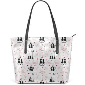 KaariDream トートバッグ レディース PU レザー 大容量 通勤 通学 旅行 軽量 A4対応 ネコ 猫柄 アニマル ラブ かわいい グレー 男女兼用 バッグ 肩掛け ハンドバッグ 軽い 大きめ おしゃれ かわいい プレゼント ギフト