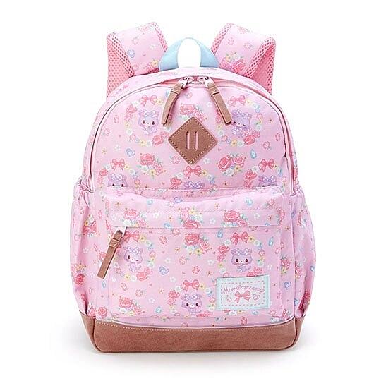 〔小禮堂〕甜夢貓 兒童帆布雙層拉鍊後背包《粉棕.花朵滿版》書包.雙肩包 4901610-70295