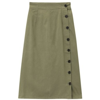 マックハウス Navy ネイビー コットンサイドボタンスカート 128810115 レディース カーキ L 【MAC HOUSE】