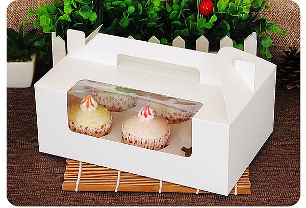 6格 開窗 純白無印手提盒 馬芬瑪芬盒 杯子蛋糕【C050】 慕斯奶酪 月餅盒 包裝盒 禮盒 蛋塔盒
