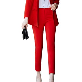 新しいカジュアル足首までの女性高品質ストレートパンツミッドウエストスリムズボン赤、青、黒ピンク