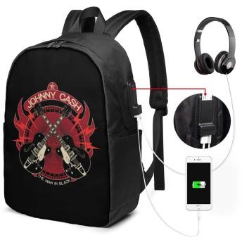 リュックサック ジョニーキャッシュ ギター カジュアル カレッジバッグ ブックバッグ USBポート搭載 軽量 イヤホン穴付き 17インチ収納 バックパック ショルダーバッグ PCリュック 男女兼用 ブラック