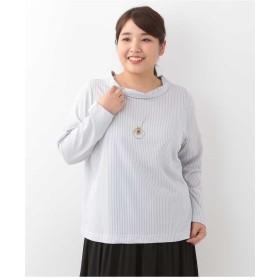 eur3 【大きいサイズ】ストライプラウンドネックトップス Tシャツ・カットソー,ライトグレー