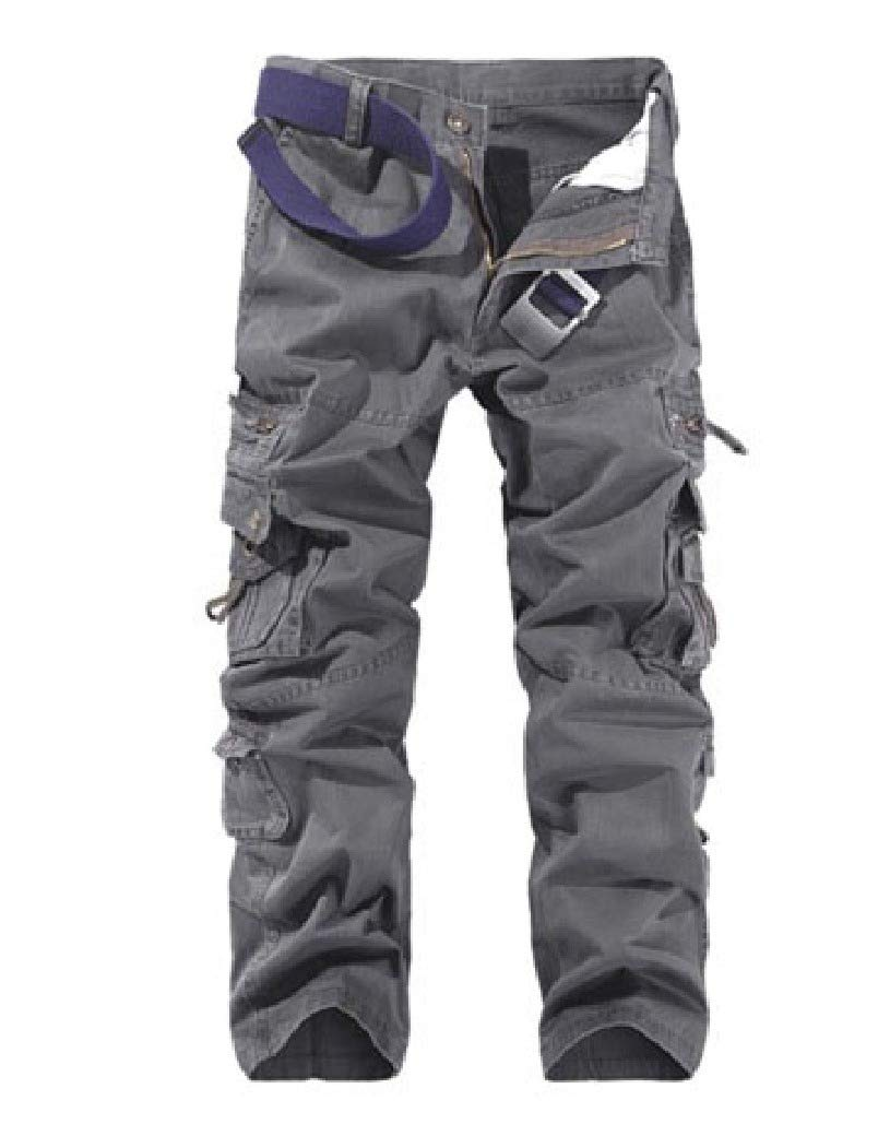 YUNY Mens Half Pants Solid-Colored Multi Pockets Basic Cotton Cargo Pant Navy Blue L