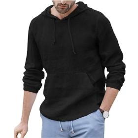 WDFWORD Tシャツ パーカー 無地 プルオーバー パーカー フード 付き サーマル メンズ トレーナー パーカー 綿麻 薄手 (ブラック, M)