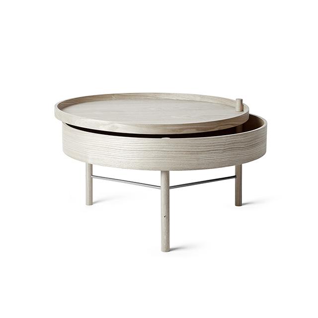Menu Turning Table 65cm 迴旋系列 收納式 木質咖啡桌(黑色梣木 黃銅支架)