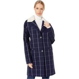 Levi's(リーバイス) アウター コート Long Wool Blend with Sherpa Collar Navy Plaid レディース [並行輸入品]