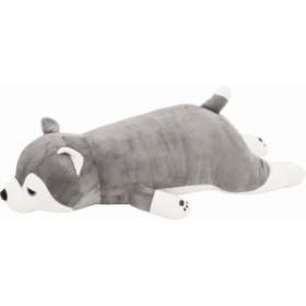 りぶはあと 抱き枕 プレミアムねむねむアニマルズ ハスキー犬のミント Lサイズ W67xD28xH18cm 4876