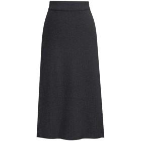 レディースロングロングスカート大きいサイズの秋と冬の冬のスカートハイウエストスカート、ダークグレー、6Xl