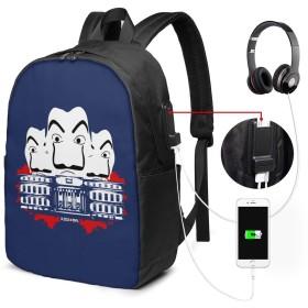 リュックサック ペーパー ハウス カジュアル カレッジバッグ ブックバッグ USBポート搭載 軽量 イヤホン穴付き 17インチ収納 バックパック ショルダーバッグ PCリュック 男女兼用 ブラック
