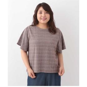 eur3 【大きいサイズ】フレアスリーブチェック柄カットソー Tシャツ・カットソー,オレンジ