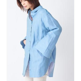 CEPIE. セピエ / シアーストライプロングシャツ シャツ・ブラウス,iceblue