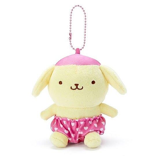 〔小禮堂〕布丁狗 絨毛玩偶娃娃吊飾《粉褲.愛心印花》掛飾.鑰匙圈 4901610-15121