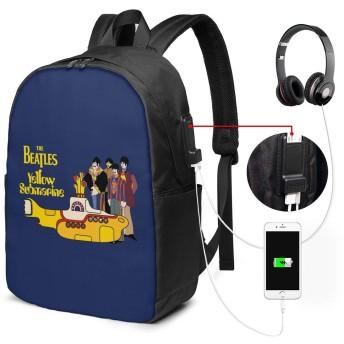 リュックサック ビートルズ イエローサブマリン ロゴ カジュアル カレッジバッグ ブックバッグ USBポート搭載 軽量 イヤホン穴付き 17インチ収納 バックパック ショルダーバッグ PCリュック 男女兼用 ブラック