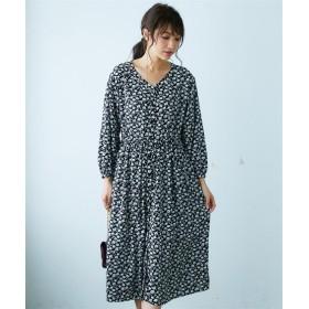 花柄プリントウエストドロストロング丈ワンピース (ワンピース)Dress, 衣裙, 連衣裙