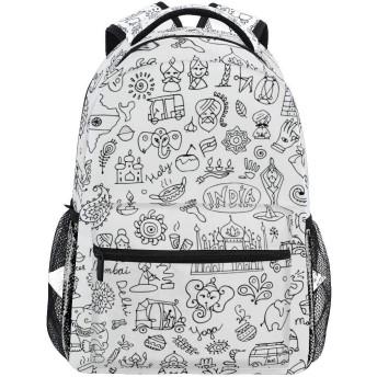 インドスケッチシームレスパターンあなたのデザイン軽量学校バックパック学生カレッジバッグ旅行ハイキングキャンプバッグ