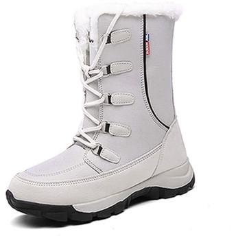 [QIAGE] レディース ウィンターブーツ 防水 防寒 女子 クッション カジュアル 23.5cm 雪 スノーボード 歩きやすい 疲れにくい 痛くない コンフォート 低反発 グレー スポーツシューズ 暖かい スノーシューズ スノーブーツ 防風 防滑