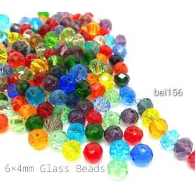 約190個 約6×4mm 電気メッキガラスのそろばんビーズ MIXカラー【bei156】