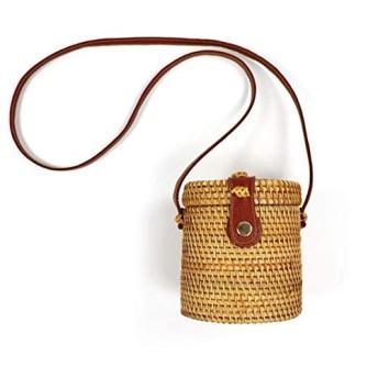 ハンドバッグ 大容量 斜め掛け 多機能 小物入れ ボヘミアミニ籐バッグ女性夏新手作り国家バレル形スモールラウンドわらのショルダーバッグバケット女性旅行 ショルダーバッグ