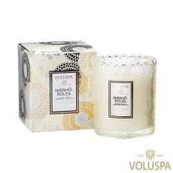 美國 VOLUSPA  Japonica 日式庭園系列 Nissho Soleil 日光和煦 浮雕玻璃罐 176g 香氛蠟燭