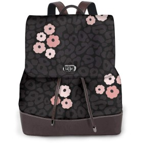 リュック レディース かわいい レザー 軽量 おしゃれ シームレスなモダンな黒と白のヒョウ 通学 通勤 旅行 ビジネス 鞄 バッグ デイバッグ