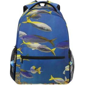 NR 新しい軽量おしゃれ学校バックパック明確な水中海の世界の海洋植物と熱帯魚の学校旅行ハイキングキャンプバッグ多機能 遠足 おしゃれ