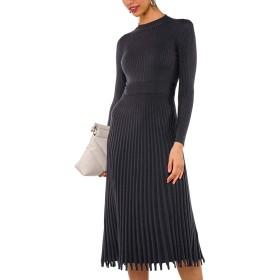supersweet ヴィンテージ女性ロングスリーブOネックウエストタイトニットプリーツミディセータードレス