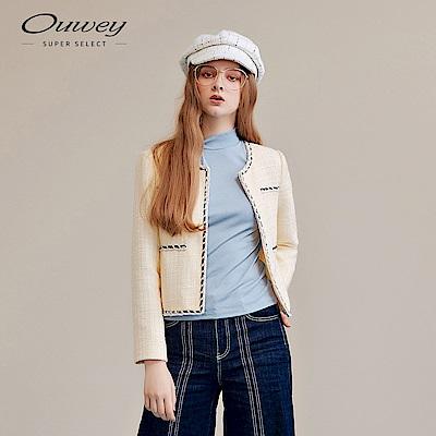 OUWEY歐薇 小香風織蔥毛呢外套(米)